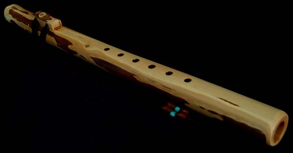 Willow Branch Flute in G with Turquoise Inlay