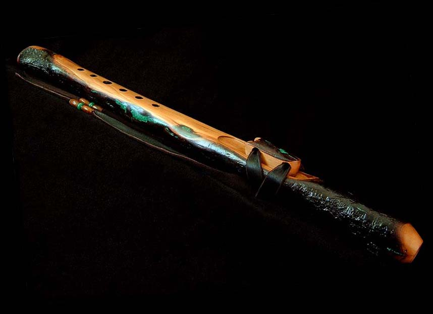 Toyon Branch Flute in A# with Malachite Inlay