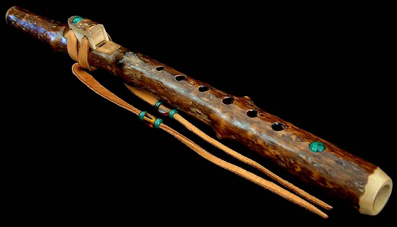 Weigela Branch Flute in B with Malachite Inlay