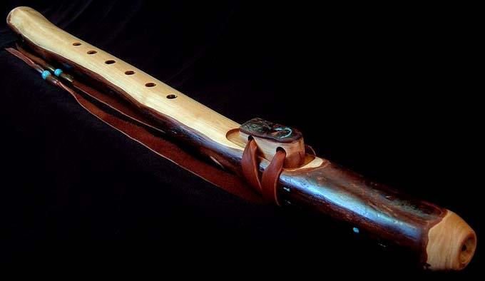 Coast Redwood Branch Flute in G with Sleeping Beauty Turquoise Inlay from Dryad Branch Flutes