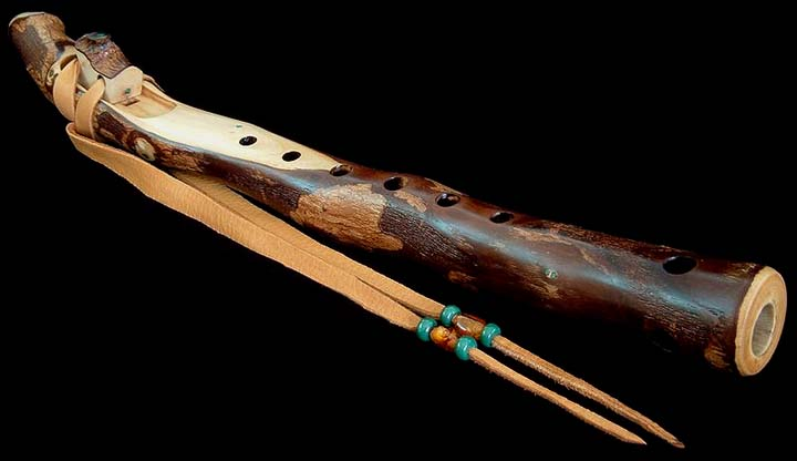 California Peppertree Branch Flute in B with Malachite Inlay from Dryad Branch Flutes