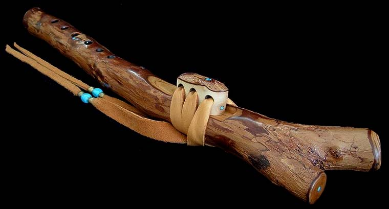 California Peppertree Branch Flute in c with Turquoise Inlay from Dryad Flutes