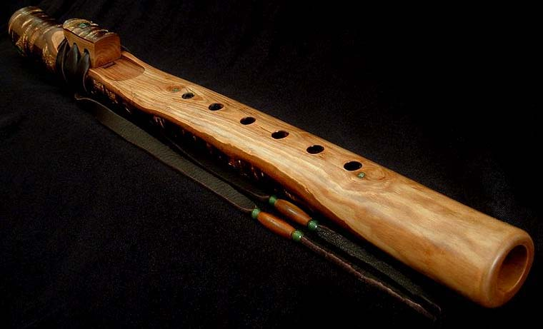 Japanese Mountain Cherry Branch Flute in A with Jade Inlay from Dryad Flutes