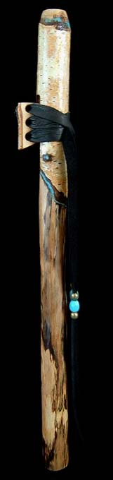 Birch Branch Flute in B with Turquoise Inlay from Dryad Flutes