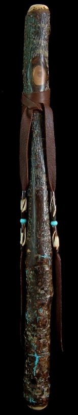 English Walnut Branch Flute in G#m with Turquoise Inlay