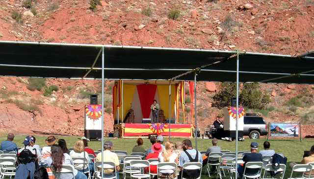 Jon Sherman playing flute at Zion Canyon Flute Festival